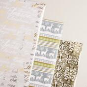 Frosty Bird, Deer and Words Wrapping Paper Rolls, 3 Pack