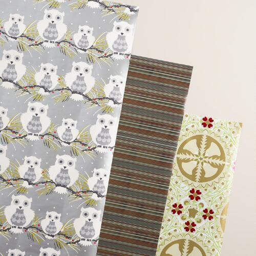 Frosty Stripes, Owl and Bells Wrapping Paper Rolls, 3 Pack