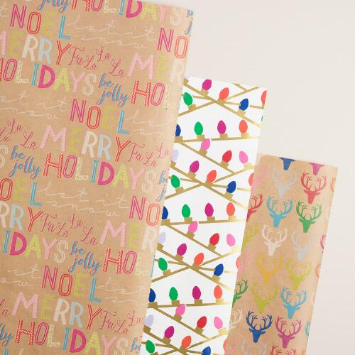 Deer, Letters and Words Wrapping Paper Rolls, 3 Pack