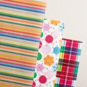 Plaid, Snowflake and Stripes Wrapping Paper Rolls, 3 Pack