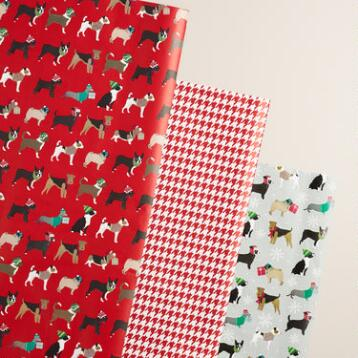 Puppies and Checkers Wrapping Paper Rolls, 3 Pack