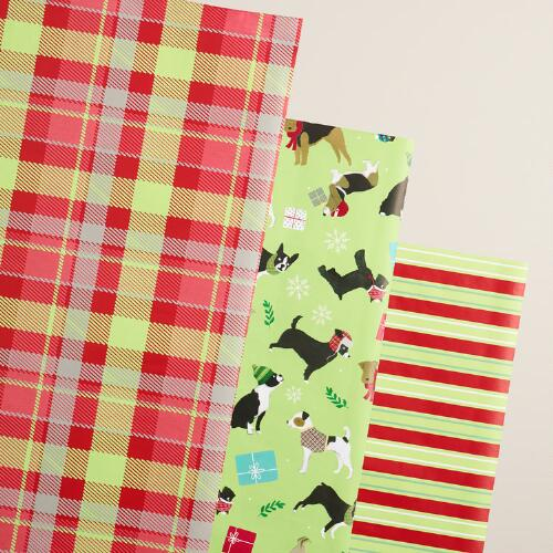 Puppies, Plaid and Stripes Wrapping Paper Rolls, 3 Pack
