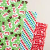 Red Diagonal and Snowman Wrapping Paper Rolls, 3 Pack