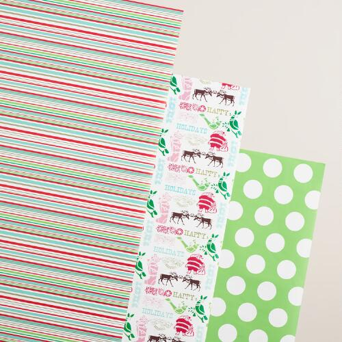Stripes, Letters and Dots Wrapping Paper Rolls, 3 Pack