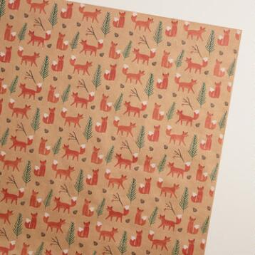 Woodland Fox Kraft Wrapping Paper Roll