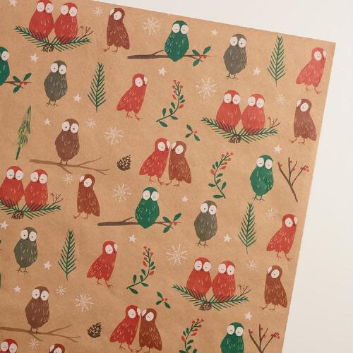 Woodland Owls Kraft Wrapping Paper Roll