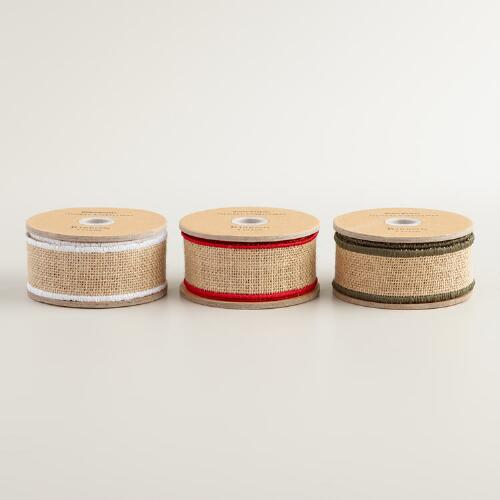 5 Yard Burlap Ribbon with Edging, 3-Pack