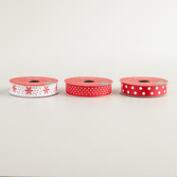 Satin Dots and Snowflake Ribbon, 3-Pack