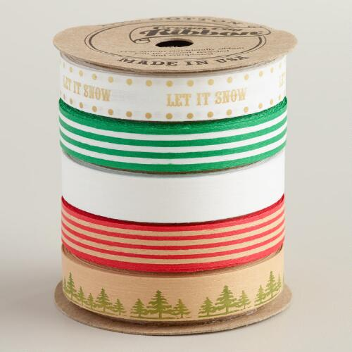 Biodegradable Christmas Message Cotton Ribbon, 5-Pack