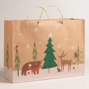 Large Woodland Friends Kraft Gift Bags, Set of 2