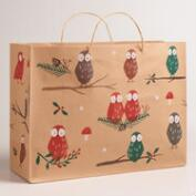 Large Woodland Owls Kraft Gift Bags, Set of 2