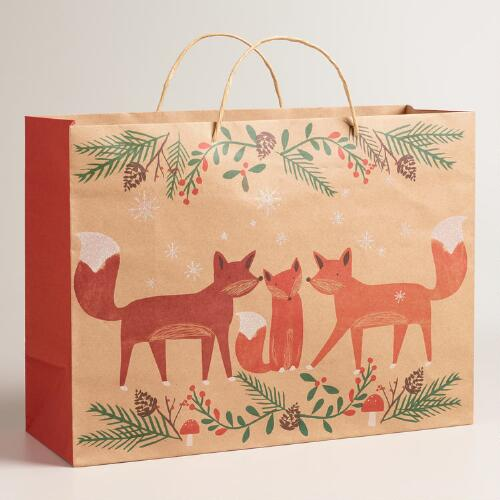 Large Woodland Fox Family Kraft Gift Bags, Set of 2