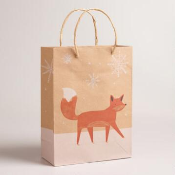 Medium Woodland Fox Kraft Gift Bags, Set of 2