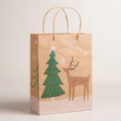 Medium Woodland Reindeer Kraft Gift Bags, Set of 2