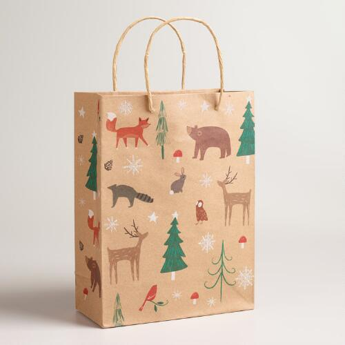 Medium Woodland Animals Kraft Gift Bags, Set of 2