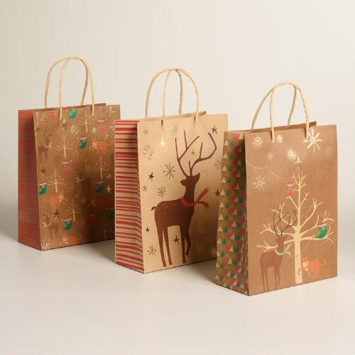 Medium Animals With Trees Kraft Gift Bags, Set of 3