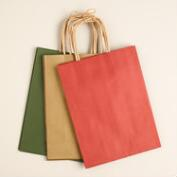 Medium Kraft Holiday Gift Bags, 3 Pack