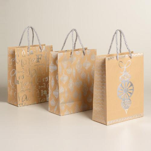 Medium Silver Ornaments Kraft Gift Bags, Set of 3
