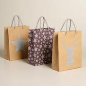 Medium Silver Glitter Stars Kraft Gift Bags, Set of 3