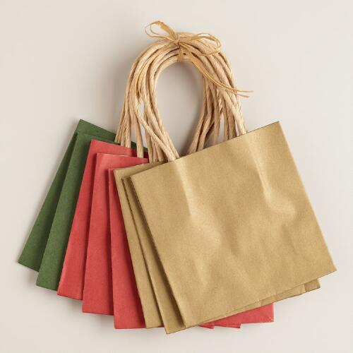Small Kraft Holiday Gift Bags, 8 Pack