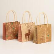 Mini Kraft Animals With Trees Gift Bags, 6 Pack