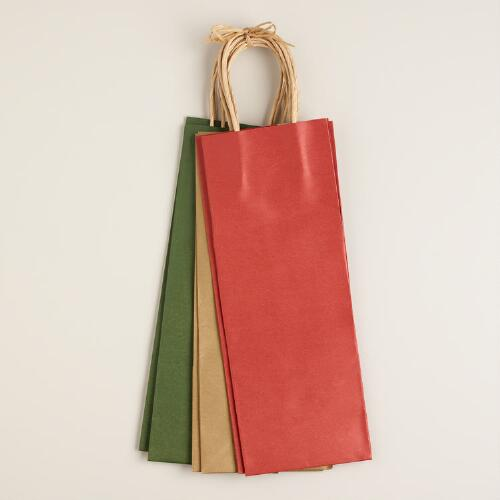 Solid Holiday Kraft Wine Bags, 6 Pack