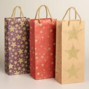 Stars Kraft Wine Bags, Set of 3