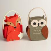 Felt Woodland Animals Baskets, Set of 2