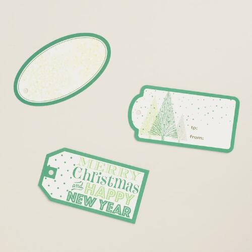 Green Holiday Gift Tags, 60 Count