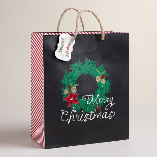 Large Chalkboard Wreath Gift Bags, Set of 2