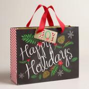 Medium Poinsettia and Holiday Message Gift Bags, Set of 2