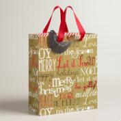 Medium Burlap Christmas Words Gift Bags, Set of 2