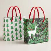 Mini Christmas Deer and Trees Gift Bags, Set of 2