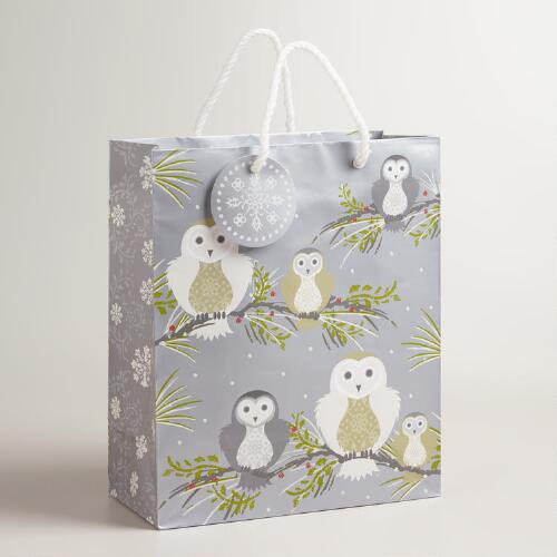 Large Frosty Owls on Branches Gift Bags, Set of 2