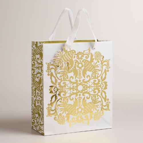 Medium Frosty Folk Birds Gift Bags, Set of 2