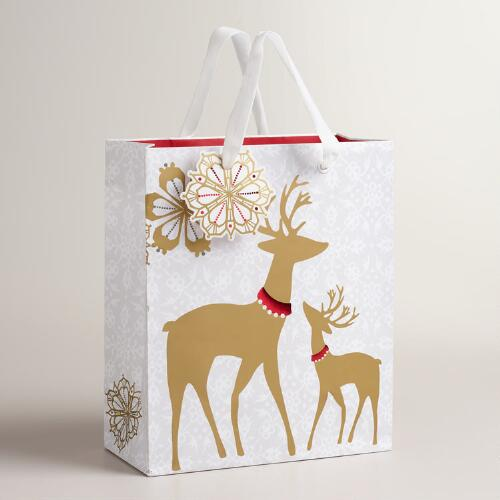 Medium Frosty Deer Gift Bags, Set of 2