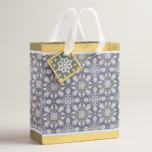 Small Frosty Lace Snowflake Gift Bags, Set of 2