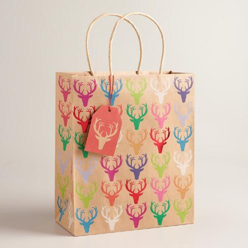 Large Colorful Deer Gift Bags, Set of 2