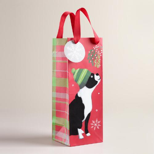 Small Christmas Boston Terrier Wine Bag, Set of 2