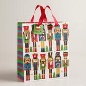 Large Nutcracker Rows Gift Bags, Set of 2