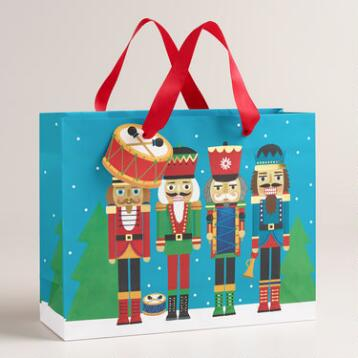 Medium Blue Nutcrackers Gift Bags, Set of 2