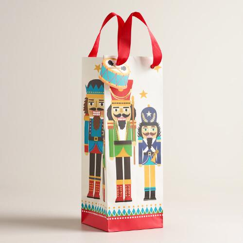 Large and Small Nutcracker Wine Bags, Set of 2