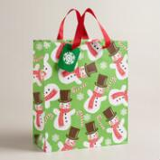 Large Retro Santa Snowman Gift Bags, Set of 2
