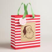 Medium Retro Santa Kraft Gift Bags, Set of 2