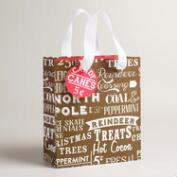 Small Retro Santa Signs Gift Bags, Set of 2