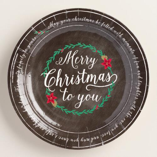 Chalkboard Christmas Message Plates, 2-Pack