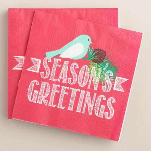 Seasons Greetings Lunch Napkins, 2 Pack