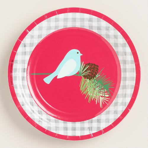 Gingham Bird Plates, 2 Pack