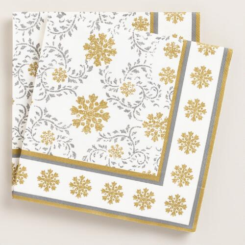 Frosty Snowflake Lunch Napkins, 2 Pack