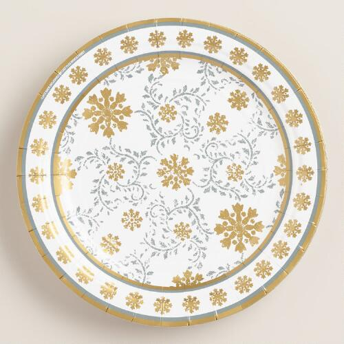 Frosty Snowflake Plates, 2-Pack